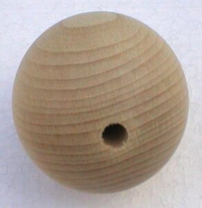 Holzkugeln-45-mm-Kugel-mit-kompletter-Bohrung-Buche-natur-Rohholzkugeln