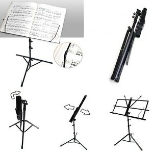 adjustable folding portable tripod guitar music sheet stand hanger musician bag ebay. Black Bedroom Furniture Sets. Home Design Ideas