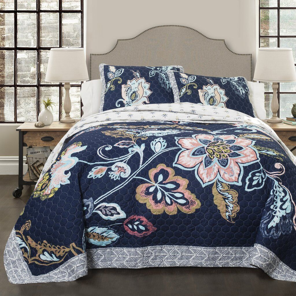 3pc Queen Quilt Set ASTER NAVY reversible Floral Garden Cotton bluee Pastel Bloom