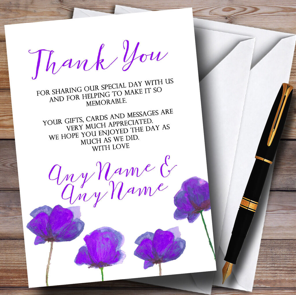 Superbe aquarelle coquelicots Purple mariage personnalisé cartes de remercieHommes remercieHommes de t 2a5eb3