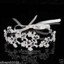Fashion Crystal Rhinestone Wedding Hair Band Headband Satin Ribbon Bridal Tiara