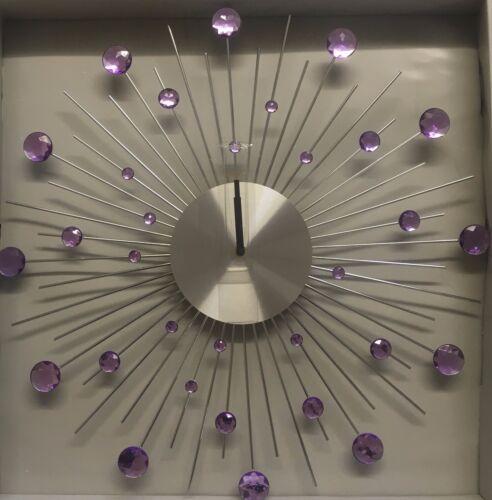 329586 Perfect Timings Diamante Beaded Star Burst Wall Clock Various Colours