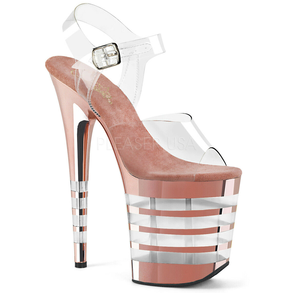 8ce5f29c6f2 PLEASER Sexy 8 Heel Lined pink pink pink gold Chrome Platform Clear  Stripper Dancer shoes 8b06cf