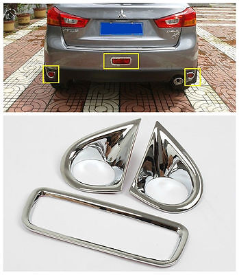 3x Chrome Rear Fog Light Cover Brake Lamp Trim for 2011-2015 ASX Outlander Sport