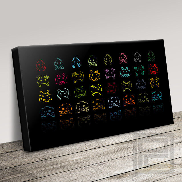 SPACE INVADERS RETRO MODERN CLASSIC VIDEO GAME CANVAS ART PRINT UPGRADE 120x56cm