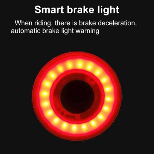 Smart Bike Tail Light USB Rechargeable Ultra Bright Rear Bike Light Auto On//Off