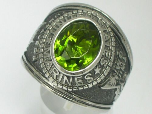 United States Marine Military August Peridot Stainless Steel Men Ring Size 11