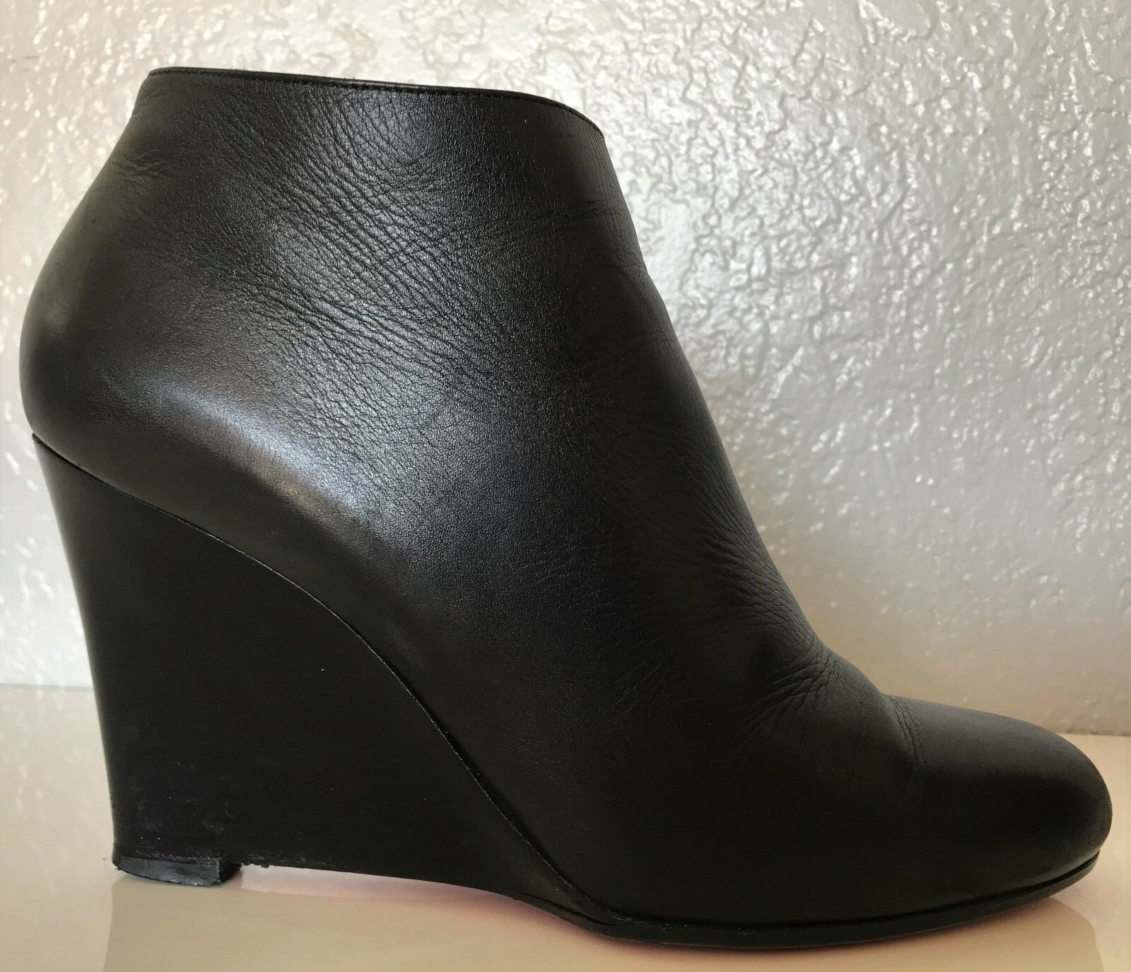 CHRISTIAN LOUBOUTIN Black Leather Wedge Heel Ankle Boot Boot Ankle 8.5-9 US 39 Bootie Daf 75dfa1