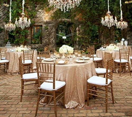 Champagne 120/'/' Round Sequin Table cloth Cover For Wedding//Event//Party//Banquet