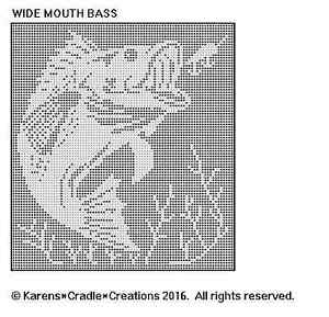 Details about WIDE MOUTH BASS Filet Crochet Pattern