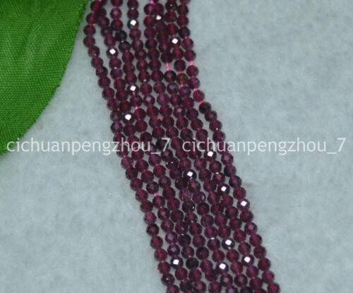"Natural 2mm Facetado Rojo Oscuro Granate Gemas redonda suelta granos 15.5/"" Strand"