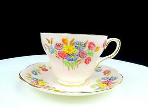 "FOLEY CHINA ENGLAND E BRAIN & CO SPRING FLOWERS PINK GOLD 2.75"" CUP SAUCER 1948-"