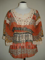 NWT J'ADORE PARIS by DZHAVAEL COUTURE SHEER CROCHET DETAIL TOP BLOUSE S