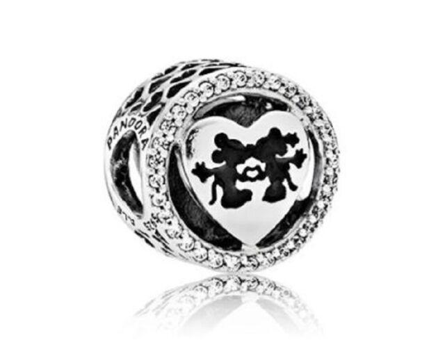 NEW! Authentic Pandora Bead Openworkl Mickey & Minnie Love CZ Charm #791957CZ