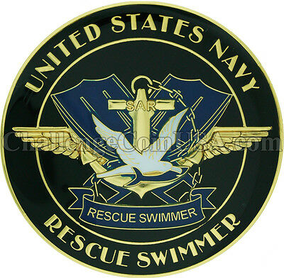Navy Rescue Swimmer Challenge Coin and 1 inch Lapel Pin