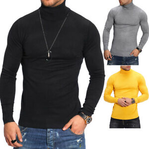 Herren-Rollkragen-Pullover-Feinstrick-Rolli-Longsleeve-Sweater-T-Shirt-Slim-Fit