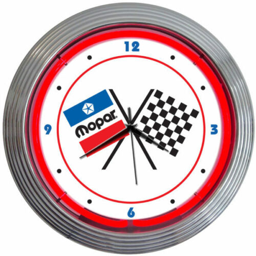 "Neonetics 8MPFLG Mopar Checkered Flag Neon Clock 15/"" NEW Man Cave LOOK"