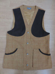 c3d60479cd81c WOMEN'S JACK ORTON SHOOTING YELLOW WAISTCOAT GILET WOOL TWEED UK 14 ...
