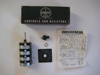 """CLAROSTAT 8 Ohm 10 watt DUAL L-PAD DCIL-8  Control Speakers """"NOS"""" Plate Knob"""