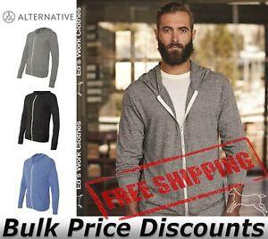 Alternative-Mens-Eco-Jersey-Hooded-Full-Zip-T-Shirt-Blank-Plain-1970e1-up-to-3XL
