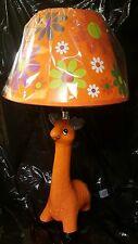"Giraffe Lamp Kids Nursery Orange Floral Shade 15"" New!"