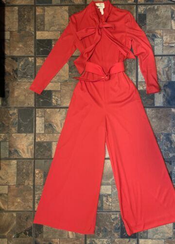 Vintage Red One Piece Ladies  Pants Suit 1970's Pa