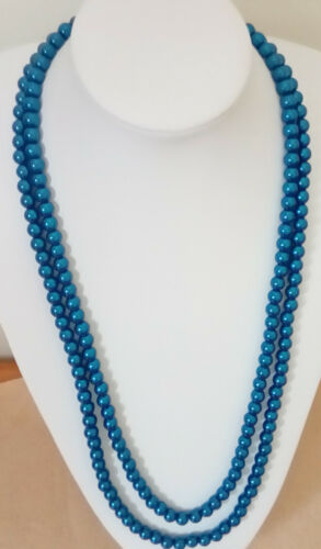 "38""/&40"" 8mm Double Strand Steel Blue Glass Pearl Necklace /& 3 Elastic Bracelets."