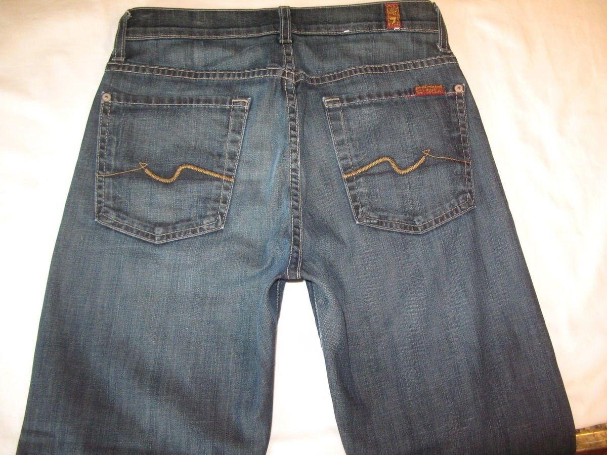 7 7 7 für Alle Herren Standard Jeans Sz 28 X 25 Gerade mit Stretch Dunkelblau  | Feinen Qualität  6b340c