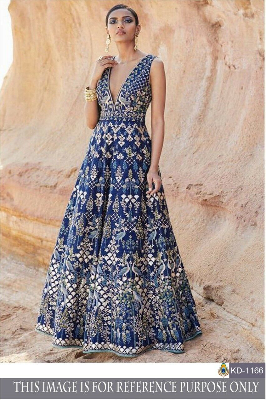 Blue Silk Gown Mexi Dress Indian Ethnic Woman Designer Salwar Kamez Party Wear