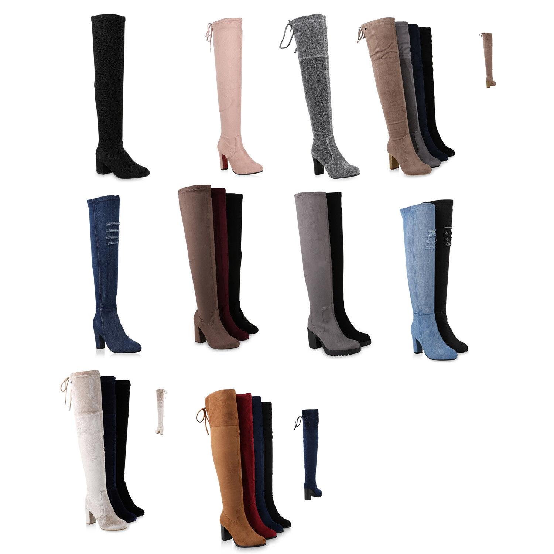 Damen Stiefel Overknees Blockabsatz Schuhe 891921 Schuhe