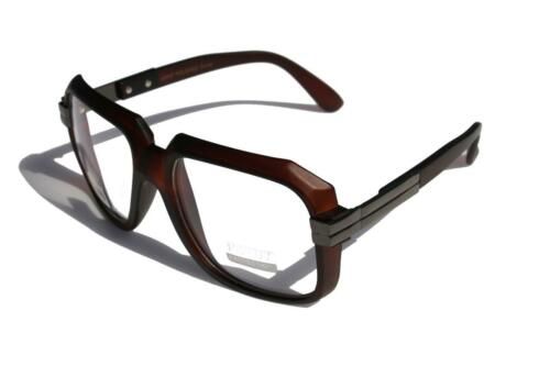 Matte Brown Clear Lens Hipster Square Sun Glasses GunMetal Accents