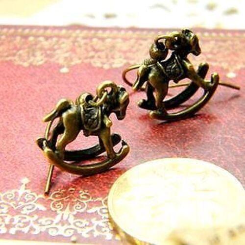 Estilo vintage bronce caballo balanceo pendientes