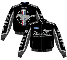Men's Ford Mustang Jacket Black Cotton Twill Collage C7 Embroidered JH Design