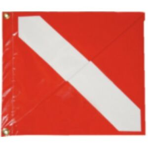 "Taylor Made Vinyl Diver Down Flag Red & White Dive Flag W/ Stiffener 13""x15"""