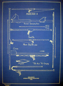 "290 Vintage Scuba 1955 Spear Guns Spring Powered Bluepint Plan 16""x22"" Wide Selection;"