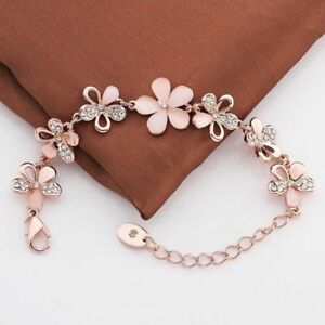 18K-Rose-Gold-Plated-Women-Pink-Cat-039-s-Eye-Opal-Flower-Chain-Bracelet-Pop