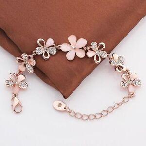 Mode-18K-Rose-Gold-ueberzogen-Frauen-Rosa-Katzenauge-Opal-Blume-Kette-Armband