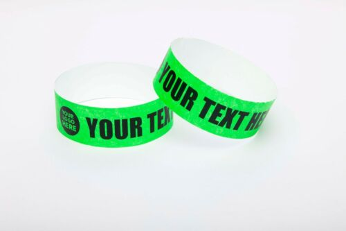 """50 Custom Printed 1/"""" Tyvek Paper Wristbands Events,Festivals,Parties,Security"""