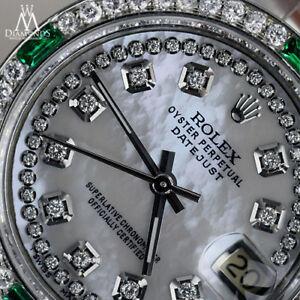 Men's Rolex 36mm Datejust BIANCO MADREPERLA DIAMANTE SMERALDO Quadrante Jubilee Braccialetto Orologio