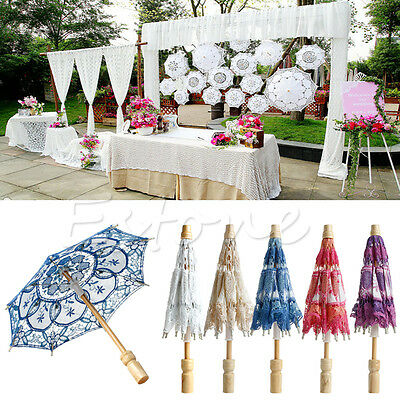 Embroidered Lace Parasol Umbrella For Wedding Bridal Party Decoration