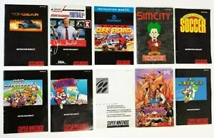 Super-Nintendo-SNES-Lot-of-10-Game-Manuals-Uncharted-Waters-New-Horizons-Mario