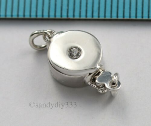 1x  Rhodium plated STERLING SILVER CZ CRYSTAL ROUND 1-strand BOX CLASP #3043