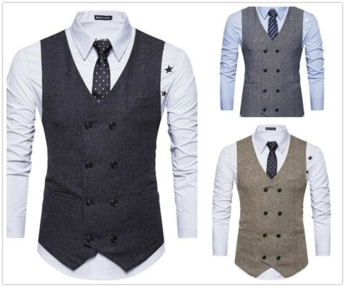 2019 Men Double-Breasted Men's Vest Herringbone Tweed Formal Slim Fit In Stock