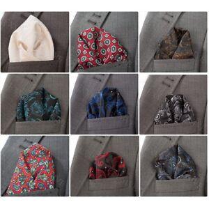 Designer-Premium-Mens-Silk-Bright-Paisley-Pocket-Square-Handkerchief-Hanky