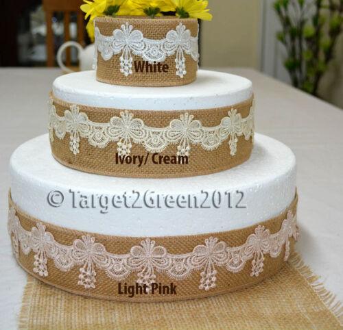 Natural Rustic Wedding Birthday Bridal Cake Decoration Hessian Burlap Ribbon