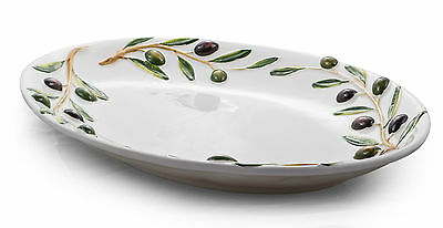 "BASSANO große ovale Oliven Servierplatte ""VENEZIA""  italienische Keramik 45x32"