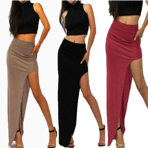7 Colors High Waist Rayon Jersey Knit Side Open Leg Slit Long Maxi Skirt BD131