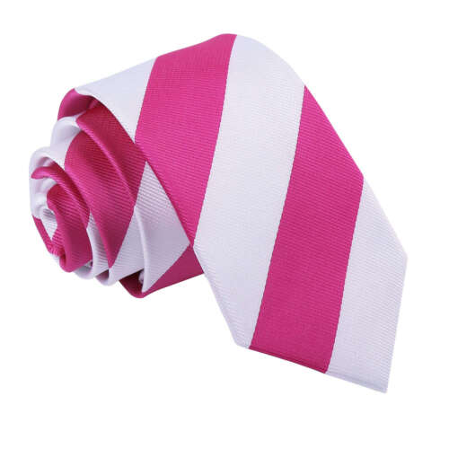 DQT Woven Striped Hot Pink White Formal Casual Mens Slim Tie