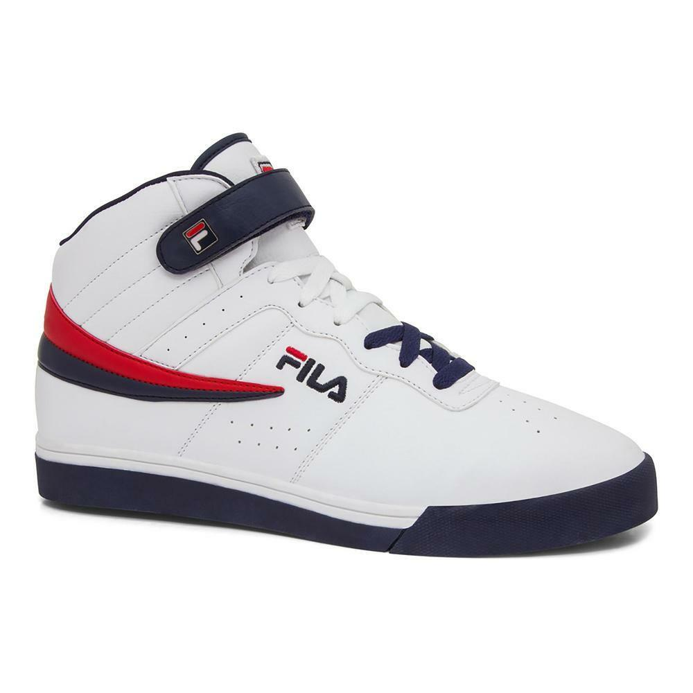 Uomo Fila Vulc 13 White Navy Mid Top Athletic Gym Shoes Casual Fashion Scarpe da Ginnastica