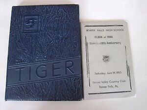 Vintage The 1940 Tiger Beaver Falls High School Yearbook Beaver